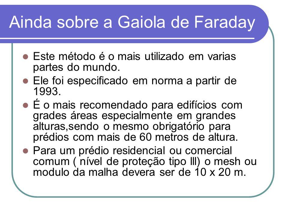Ainda sobre a Gaiola de Faraday Este método é o mais utilizado em varias partes do mundo. Ele foi especificado em norma a partir de 1993. É o mais rec