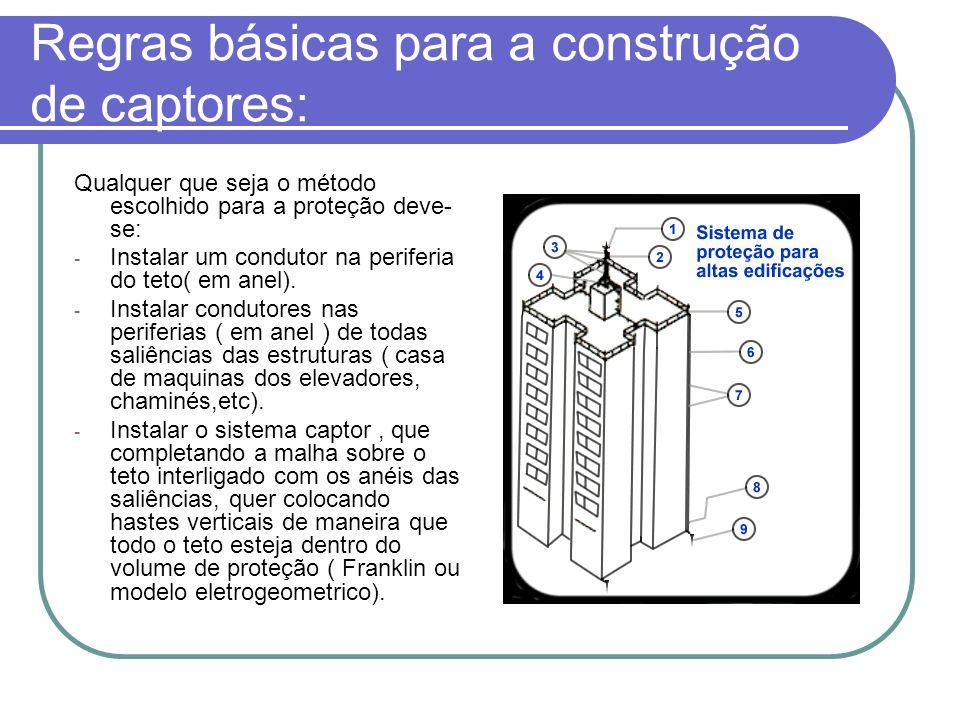 Regras básicas para a construção de captores: Qualquer que seja o método escolhido para a proteção deve- se: - Instalar um condutor na periferia do te
