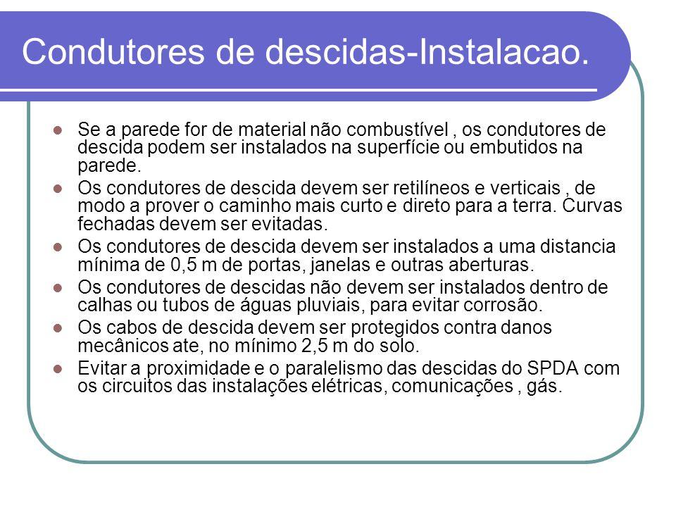 Condutores de descidas-Instalacao. Se a parede for de material não combustível, os condutores de descida podem ser instalados na superfície ou embutid