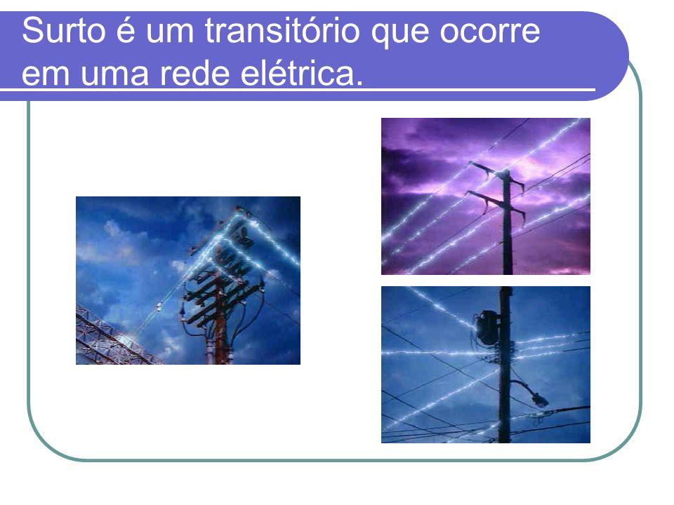 Surto é um transitório que ocorre em uma rede elétrica.