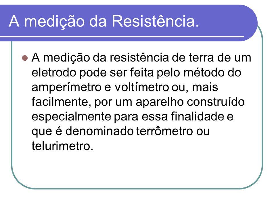 A medição da Resistência. A medição da resistência de terra de um eletrodo pode ser feita pelo método do amperímetro e voltímetro ou, mais facilmente,
