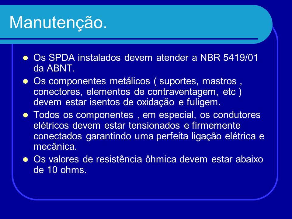 Manutenção. Os SPDA instalados devem atender a NBR 5419/01 da ABNT. Os componentes metálicos ( suportes, mastros, conectores, elementos de contraventa