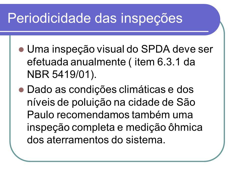 Periodicidade das inspeções Uma inspeção visual do SPDA deve ser efetuada anualmente ( item 6.3.1 da NBR 5419/01). Dado as condições climáticas e dos