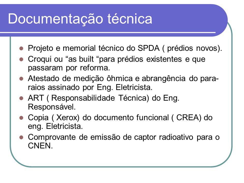 Documentação técnica Projeto e memorial técnico do SPDA ( prédios novos). Croqui ou as built para prédios existentes e que passaram por reforma. Atest