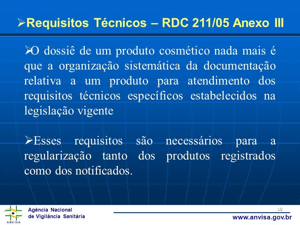 Agência Nacional de Vigilância Sanitária www.anvisa.gov.br 10 Requisitos Técnicos – RDC 211/05 Anexo III O dossiê de um produto cosmético nada mais é