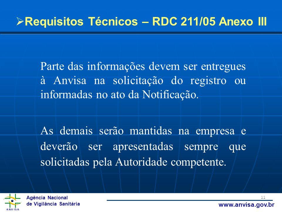 Agência Nacional de Vigilância Sanitária www.anvisa.gov.br 11 Requisitos Técnicos – RDC 211/05 Anexo III Parte das informações devem ser entregues à A