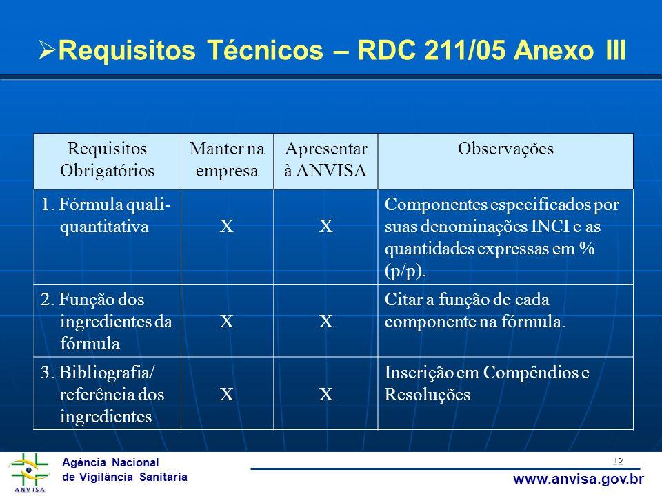 Agência Nacional de Vigilância Sanitária www.anvisa.gov.br 12 Requisitos Obrigatórios Manter na empresa Apresentar à ANVISA Observações 1. Fórmula qua