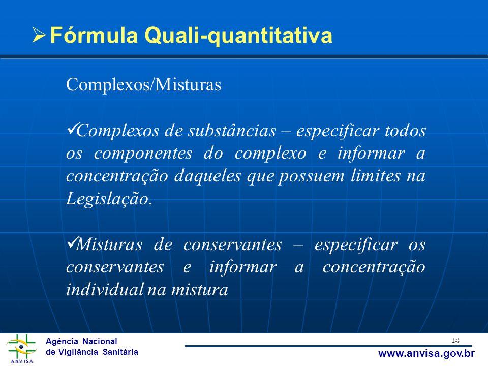 Agência Nacional de Vigilância Sanitária www.anvisa.gov.br 14 Fórmula Quali-quantitativa Complexos/Misturas Complexos de substâncias – especificar tod
