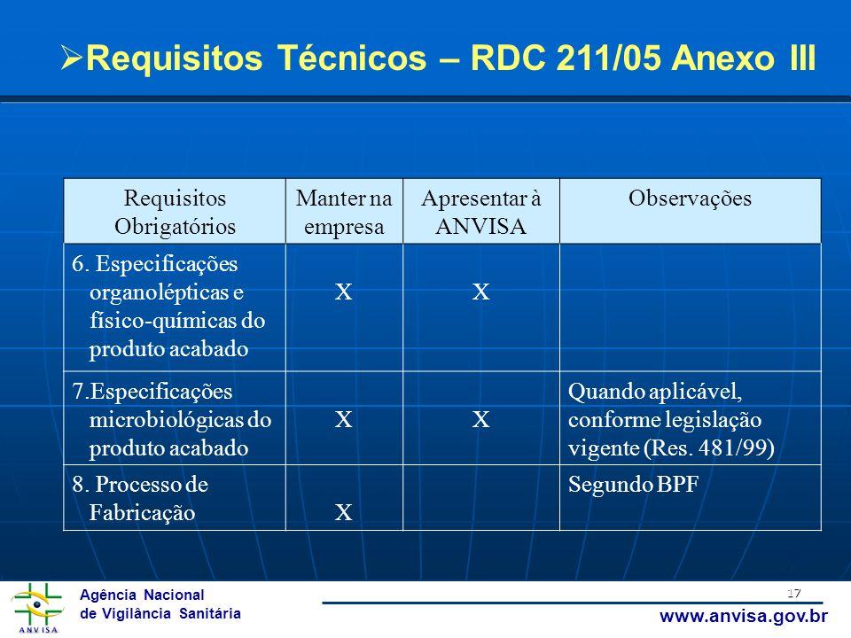 Agência Nacional de Vigilância Sanitária www.anvisa.gov.br 17 Requisitos Obrigatórios Manter na empresa Apresentar à ANVISA Observações 6. Especificaç
