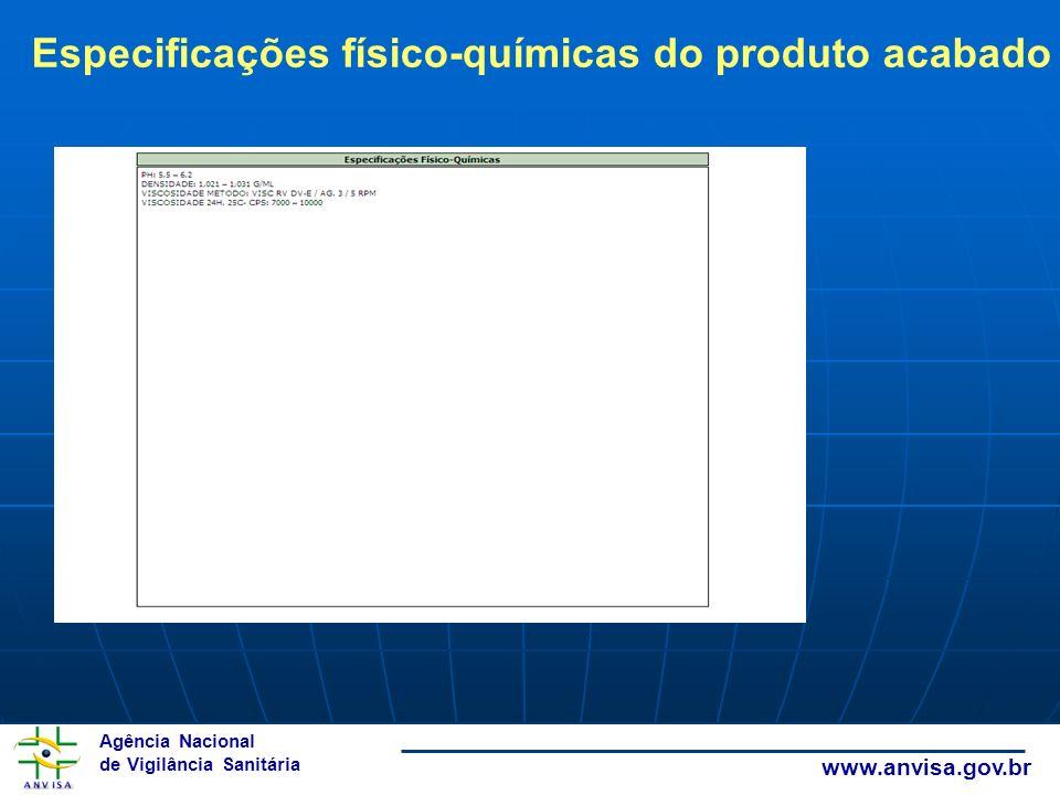Agência Nacional de Vigilância Sanitária www.anvisa.gov.br Especificações físico-químicas do produto acabado