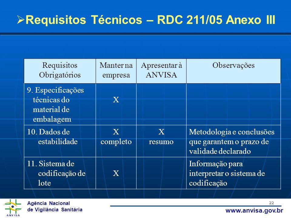 Agência Nacional de Vigilância Sanitária www.anvisa.gov.br 22 Requisitos Obrigatórios Manter na empresa Apresentar à ANVISA Observações 9. Especificaç