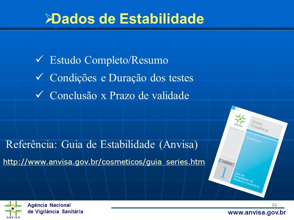 Agência Nacional de Vigilância Sanitária www.anvisa.gov.br 23 Dados de Estabilidade Estudo Completo/Resumo Condições e Duração dos testes Conclusão x