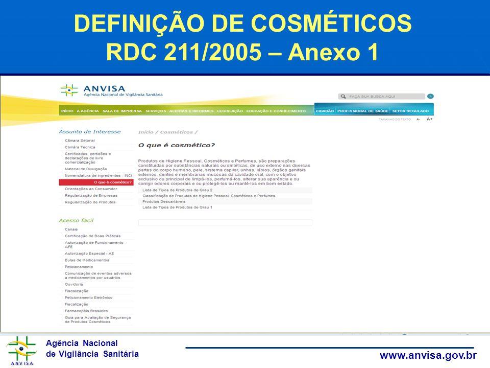Agência Nacional de Vigilância Sanitária www.anvisa.gov.br DEFINIÇÃO DE COSMÉTICOS RDC 211/2005 – Anexo 1