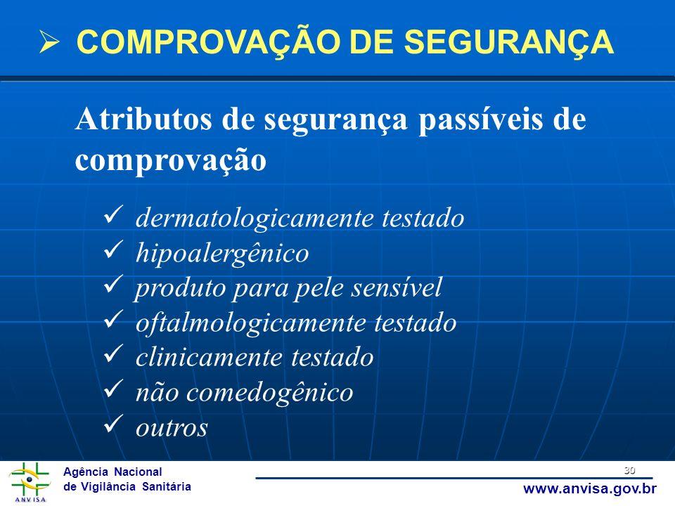 Agência Nacional de Vigilância Sanitária www.anvisa.gov.br 30 Atributos de segurança passíveis de comprovação dermatologicamente testado hipoalergênic