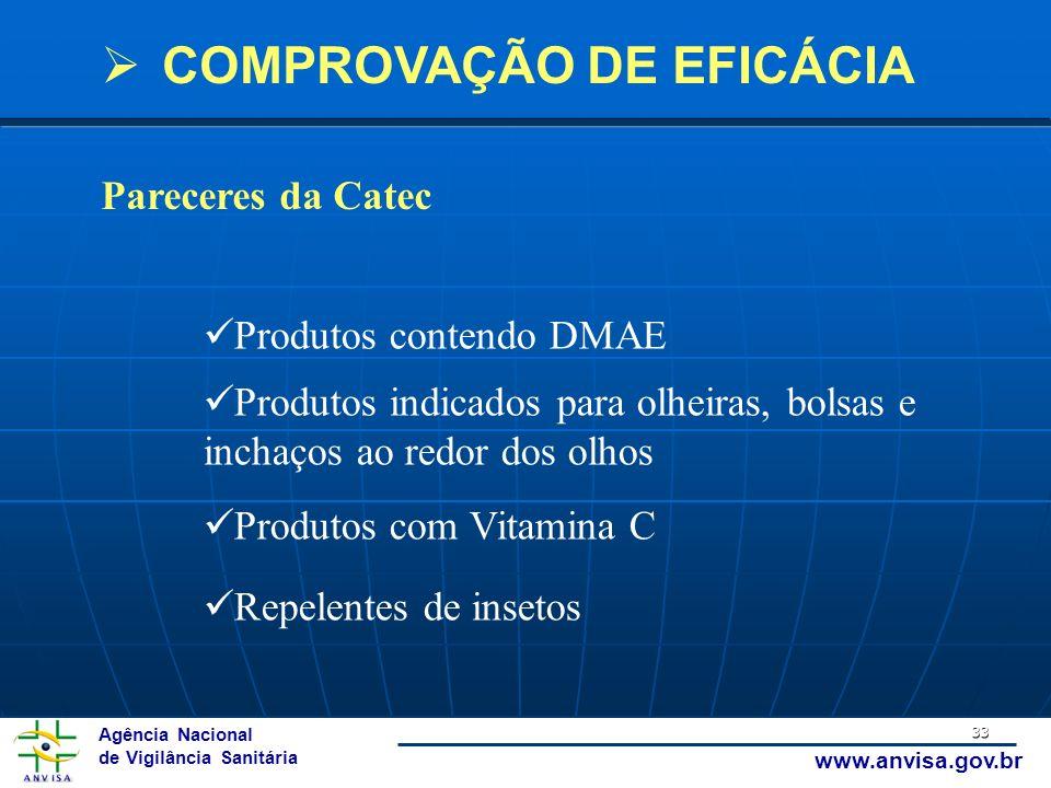 Agência Nacional de Vigilância Sanitária www.anvisa.gov.br 33 Produtos contendo DMAE Produtos indicados para olheiras, bolsas e inchaços ao redor dos