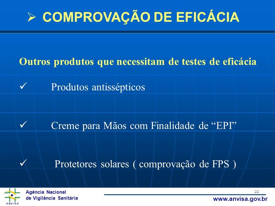 Agência Nacional de Vigilância Sanitária www.anvisa.gov.br 35 Outros produtos que necessitam de testes de eficácia Produtos antissépticos Creme para M