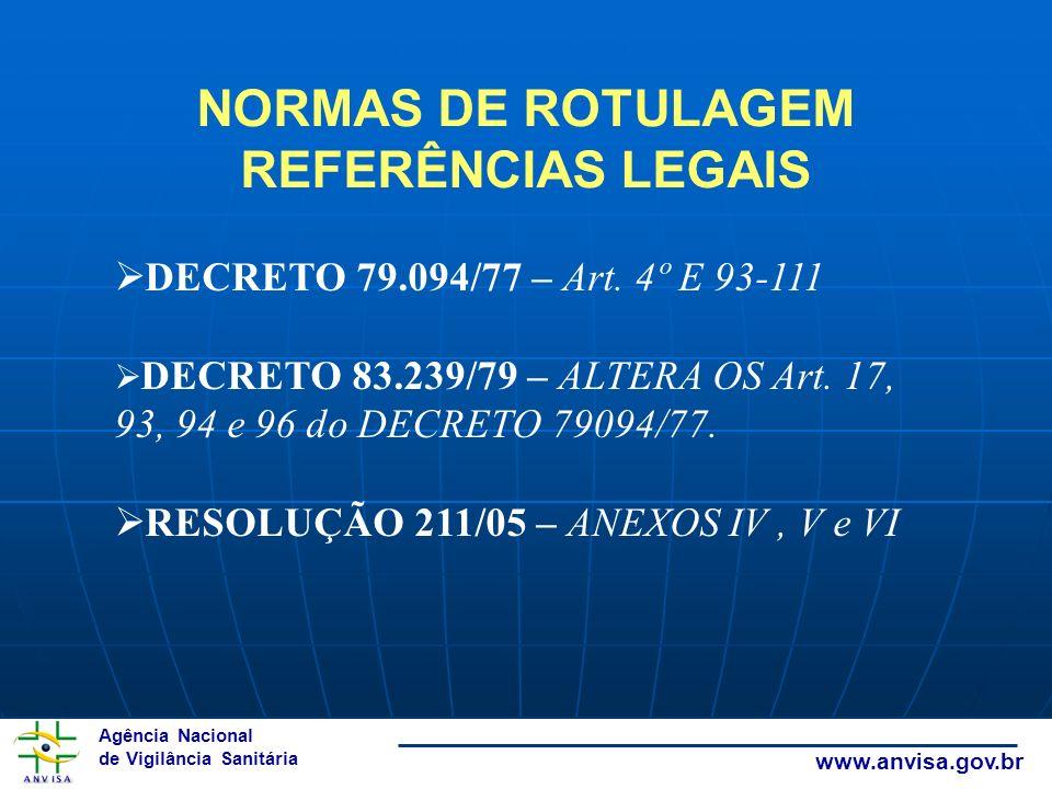 Agência Nacional de Vigilância Sanitária www.anvisa.gov.br NORMAS DE ROTULAGEM REFERÊNCIAS LEGAIS DECRETO 79.094/77 – Art. 4º E 93-111 DECRETO 83.239/