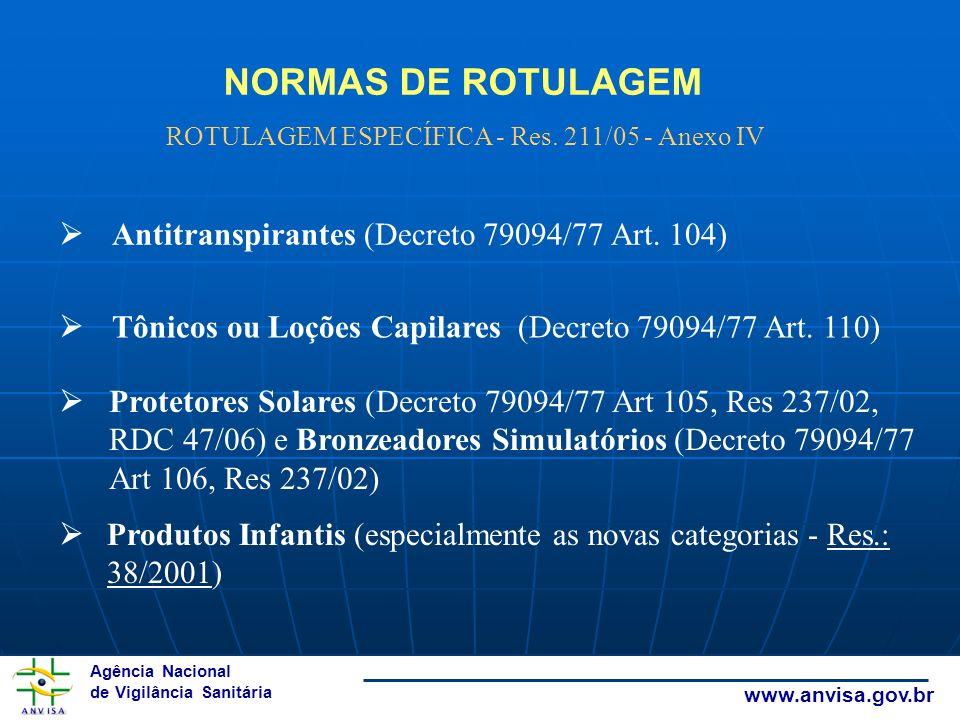 Agência Nacional de Vigilância Sanitária www.anvisa.gov.br ROTULAGEM ESPECÍFICA - Res. 211/05 - Anexo IV Antitranspirantes (Decreto 79094/77 Art. 104)