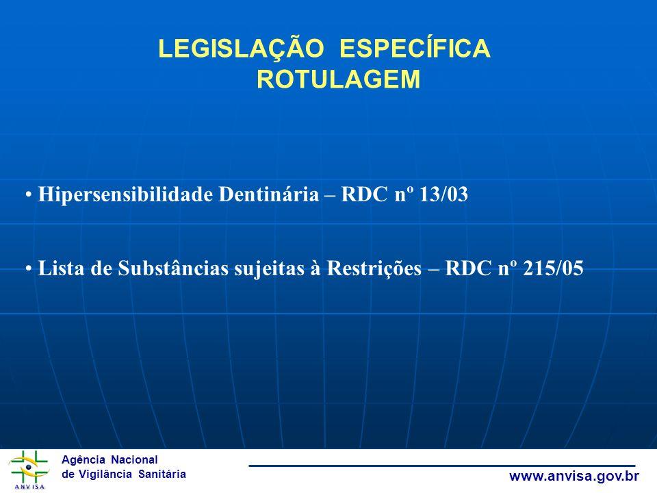 Agência Nacional de Vigilância Sanitária www.anvisa.gov.br Hipersensibilidade Dentinária – RDC nº 13/03 Lista de Substâncias sujeitas à Restrições – R