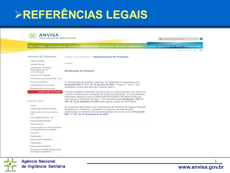 Agência Nacional de Vigilância Sanitária www.anvisa.gov.br 6 REFERÊNCIAS LEGAIS