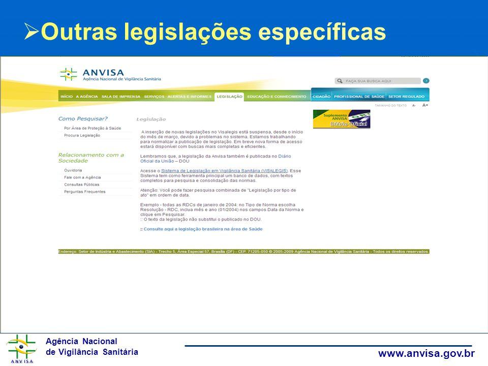 Agência Nacional de Vigilância Sanitária www.anvisa.gov.br Outras legislações específicas