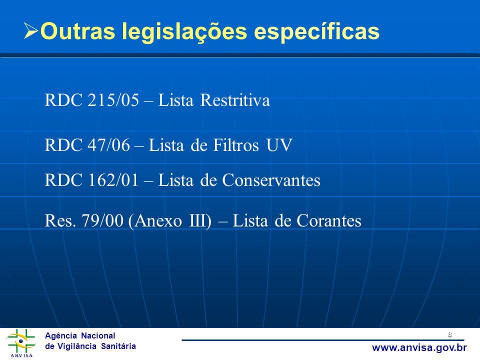 Agência Nacional de Vigilância Sanitária www.anvisa.gov.br 8 Outras legislações específicas RDC 215/05 – Lista Restritiva RDC 47/06 – Lista de Filtros