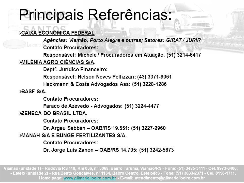 Principais Referências: CAIXA ECONÔMICA FEDERAL Agências: Viamão, Porto Alegre e outras; Setores: GIRAT / JURIR Contato Procuradores: Responsável: Mic