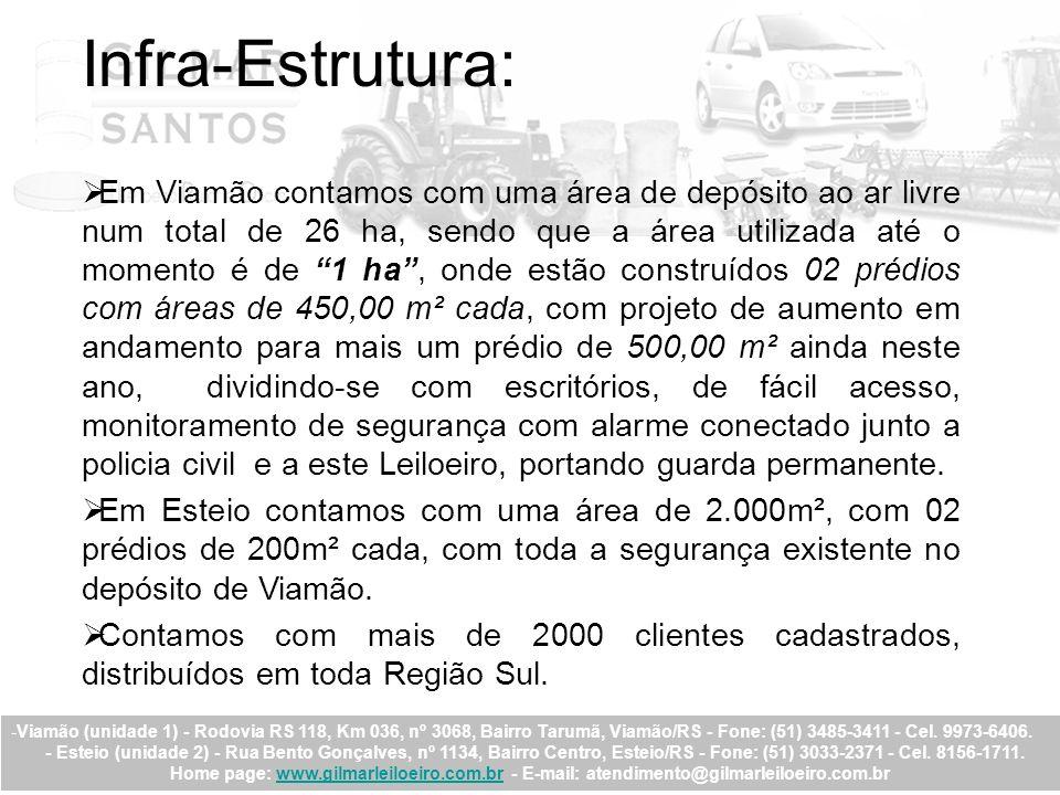 Infra-Estrutura: Em Viamão contamos com uma área de depósito ao ar livre num total de 26 ha, sendo que a área utilizada até o momento é de 1 ha, onde