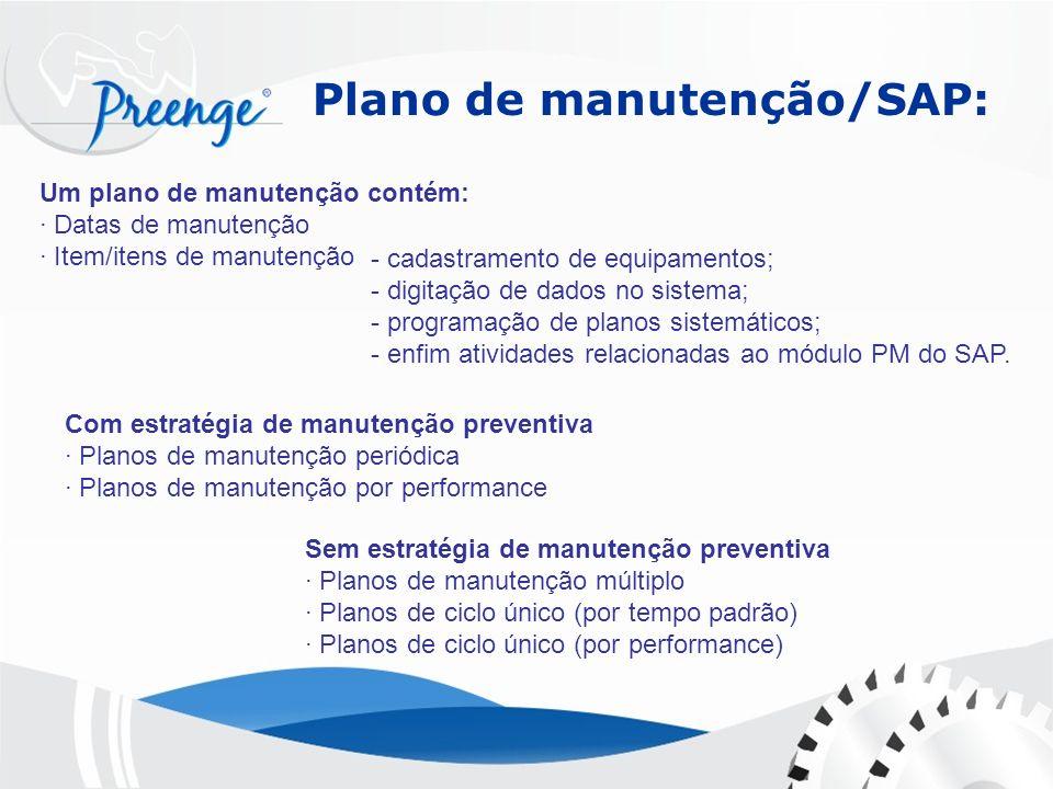 Plano de manutenção/SAP: Um plano de manutenção contém: · Datas de manutenção · Item/itens de manutenção Sem estratégia de manutenção preventiva · Pla