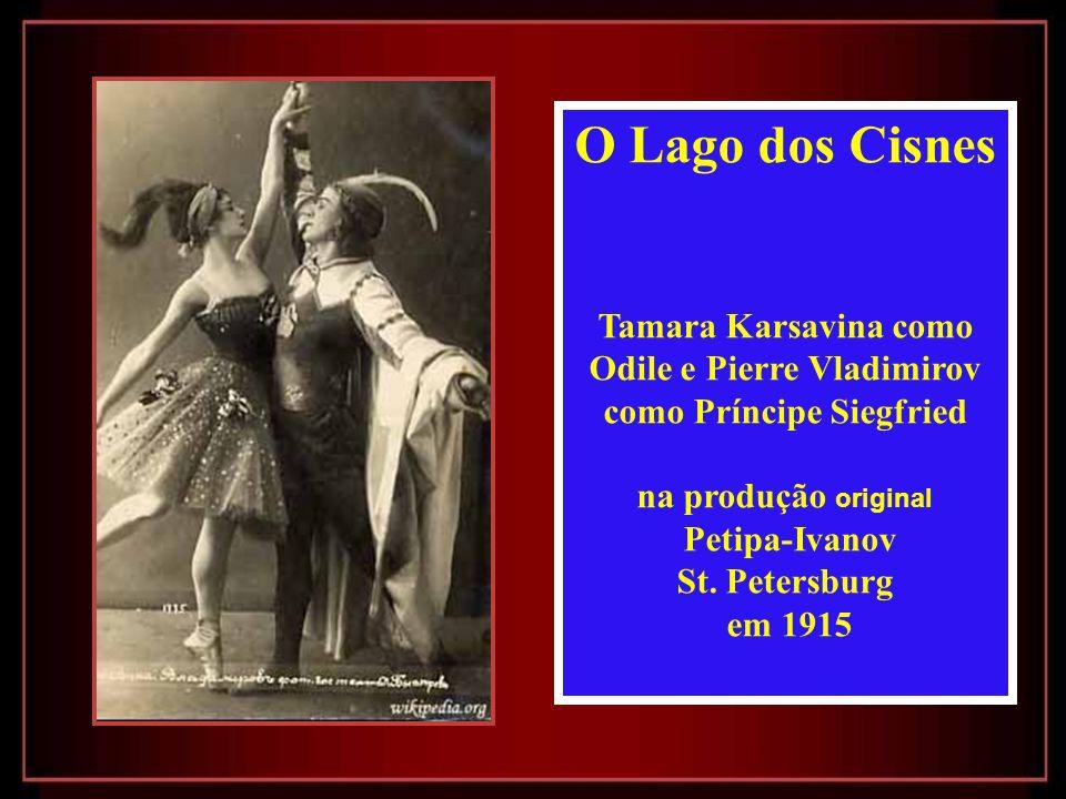 O Lago dos Cisnes Tamara Karsavina como Odile e Pierre Vladimirov como Príncipe Siegfried na produção original Petipa-Ivanov St.