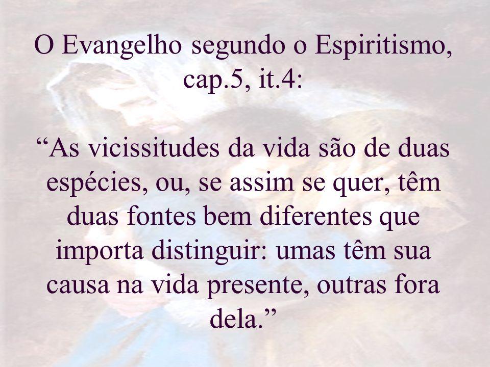 O Evangelho segundo o Espiritismo, cap.5, it.4: As vicissitudes da vida são de duas espécies, ou, se assim se quer, têm duas fontes bem diferentes que