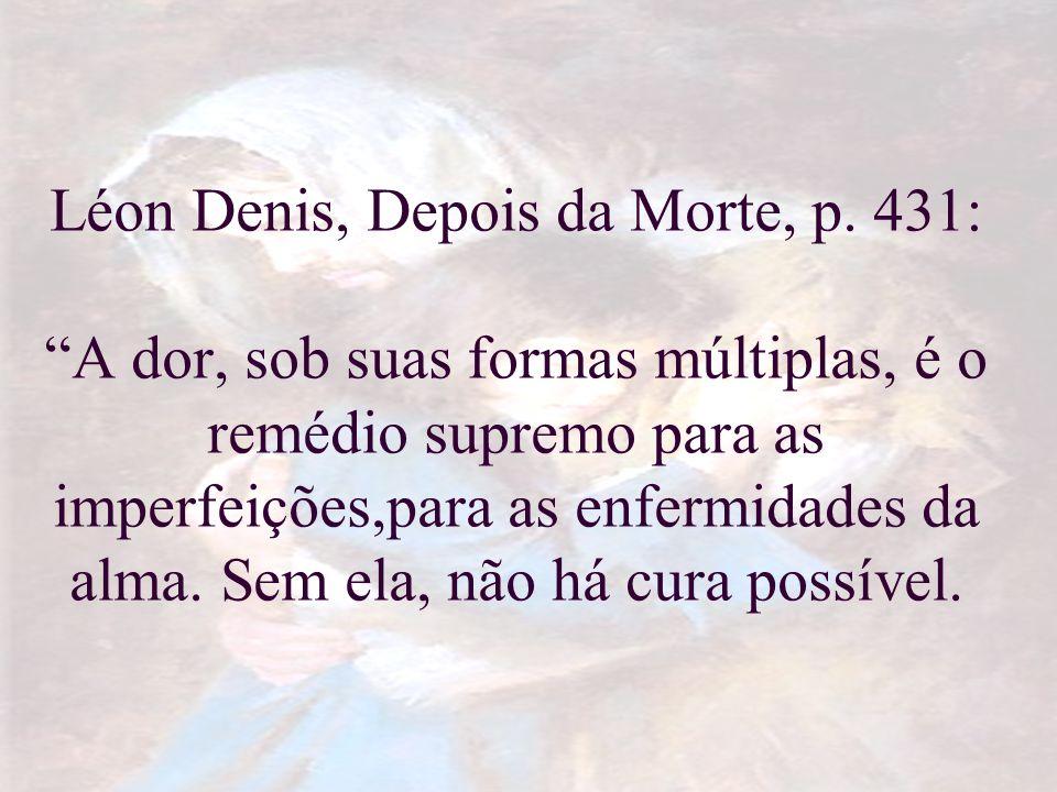 Léon Denis, Depois da Morte, p. 431: A dor, sob suas formas múltiplas, é o remédio supremo para as imperfeições,para as enfermidades da alma. Sem ela,