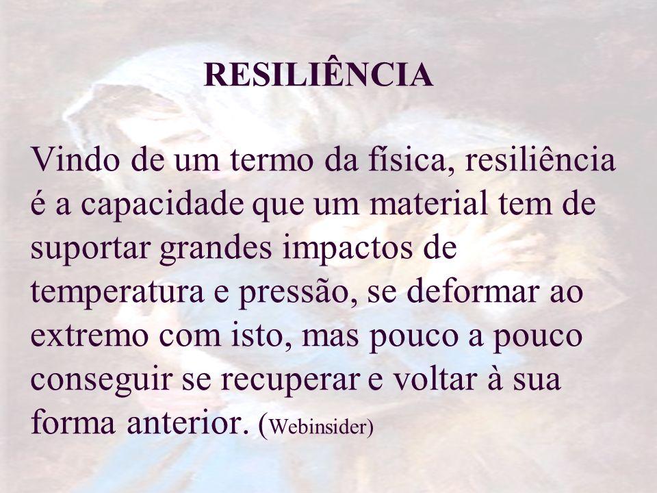 RESILIÊNCIA Vindo de um termo da física, resiliência é a capacidade que um material tem de suportar grandes impactos de temperatura e pressão, se defo