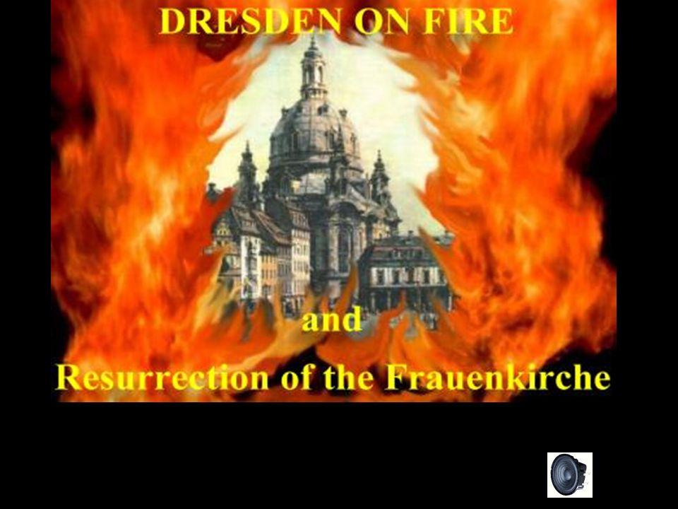 Dresden foi atacada na noite de 13 de fevereiro por cerca de 700-800 bombardeiros britânicos, com 3.000 bombas de alto teor explosivo, para destruir os telhados e a infraestrutura da cidade.