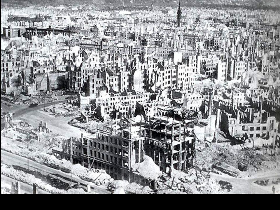 Aquele que esqueceu como chorar, vai reaprender, ao ver a destruída cidade de Dresden. Gerhart Hauptmann in 1945 (Poet and Nobel Prize Laureate for Li