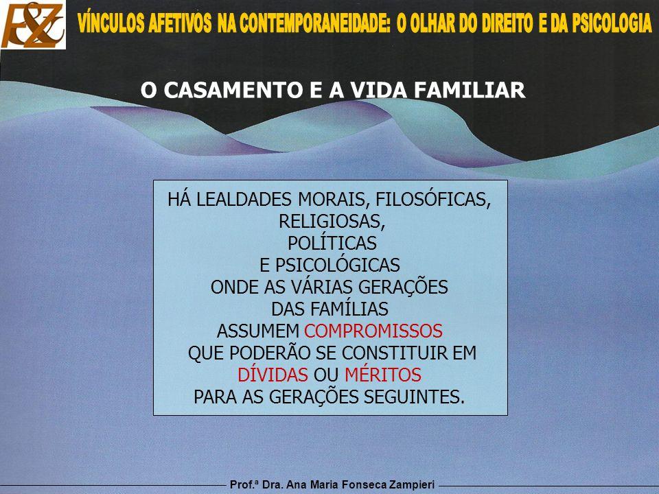 Prof.ª Dra. Ana Maria Fonseca Zampieri O CASAMENTO E A VIDA FAMILIAR HÁ LEALDADES MORAIS, FILOSÓFICAS, RELIGIOSAS, POLÍTICAS E PSICOLÓGICAS ONDE AS VÁ