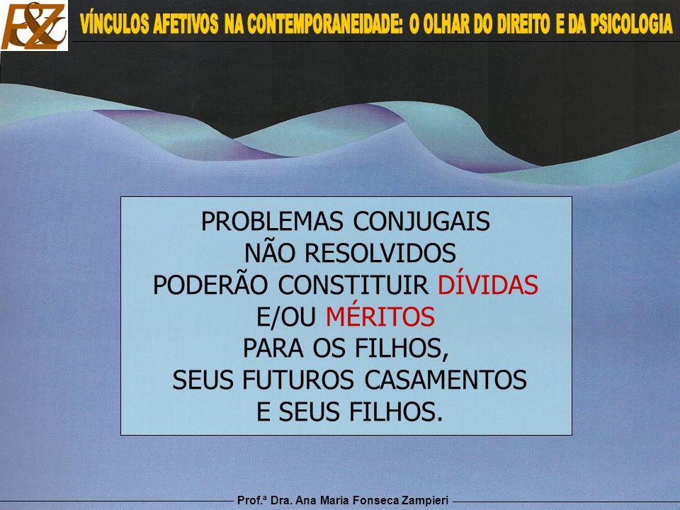 Prof.ª Dra. Ana Maria Fonseca Zampieri PROBLEMAS CONJUGAIS NÃO RESOLVIDOS PODERÃO CONSTITUIR DÍVIDAS E/OU MÉRITOS PARA OS FILHOS, SEUS FUTUROS CASAMEN