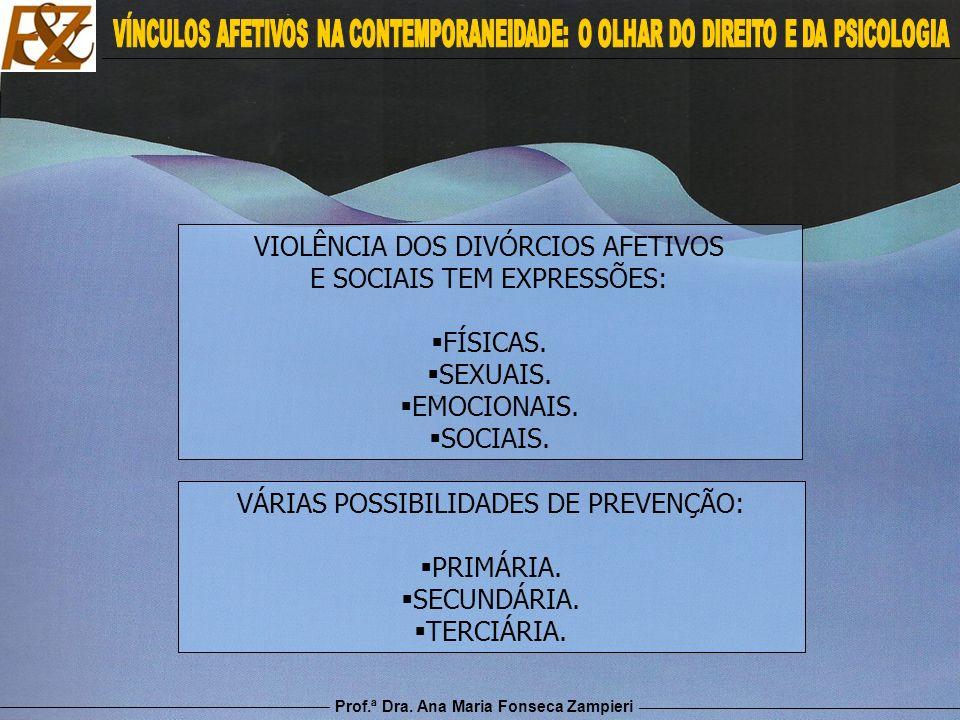Prof.ª Dra. Ana Maria Fonseca Zampieri VIOLÊNCIA DOS DIVÓRCIOS AFETIVOS E SOCIAIS TEM EXPRESSÕES: FÍSICAS. SEXUAIS. EMOCIONAIS. SOCIAIS. VÁRIAS POSSIB