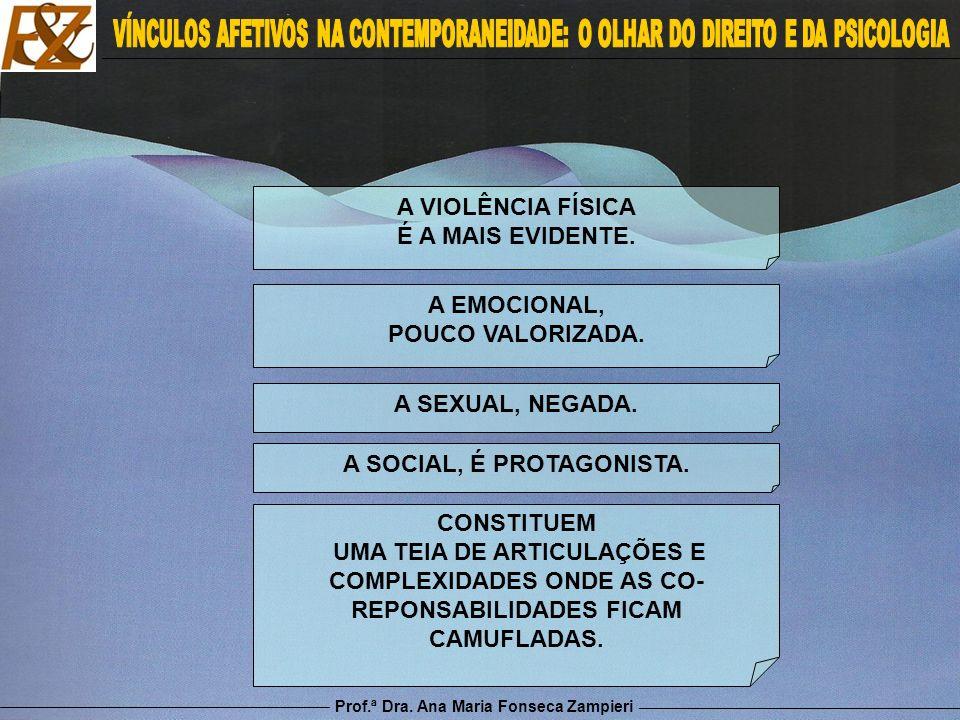 Prof.ª Dra. Ana Maria Fonseca Zampieri A VIOLÊNCIA FÍSICA É A MAIS EVIDENTE. A EMOCIONAL, POUCO VALORIZADA. A SEXUAL, NEGADA. A SOCIAL, É PROTAGONISTA