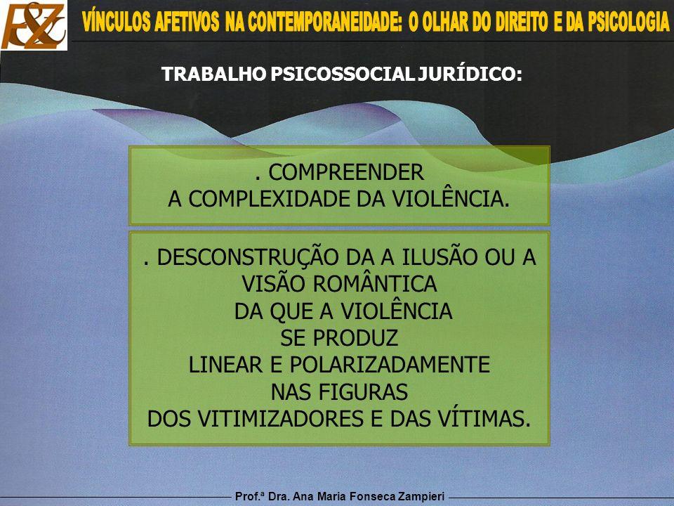Prof.ª Dra. Ana Maria Fonseca Zampieri. COMPREENDER A COMPLEXIDADE DA VIOLÊNCIA.. DESCONSTRUÇÃO DA A ILUSÃO OU A VISÃO ROMÂNTICA DA QUE A VIOLÊNCIA SE