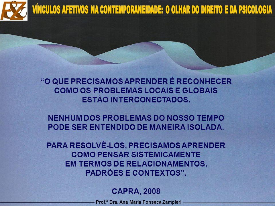 Prof.ª Dra. Ana Maria Fonseca Zampieri O QUE PRECISAMOS APRENDER É RECONHECER COMO OS PROBLEMAS LOCAIS E GLOBAIS ESTÃO INTERCONECTADOS. NENHUM DOS PRO