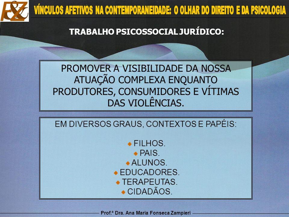Prof.ª Dra. Ana Maria Fonseca Zampieri PROMOVER A VISIBILIDADE DA NOSSA ATUAÇÃO COMPLEXA ENQUANTO PRODUTORES, CONSUMIDORES E VÍTIMAS DAS VIOLÊNCIAS. E