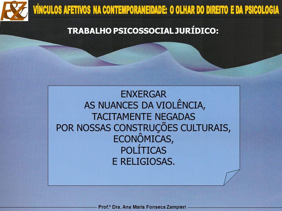 Prof.ª Dra. Ana Maria Fonseca Zampieri ENXERGAR AS NUANCES DA VIOLÊNCIA, TACITAMENTE NEGADAS POR NOSSAS CONSTRUÇÕES CULTURAIS, ECONÔMICAS, POLÍTICAS E