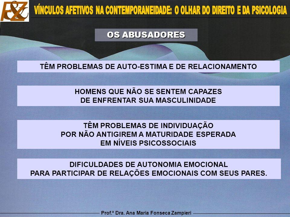 Prof.ª Dra. Ana Maria Fonseca Zampieri DIFICULDADES DE AUTONOMIA EMOCIONAL PARA PARTICIPAR DE RELAÇÕES EMOCIONAIS COM SEUS PARES. OS ABUSADORES TÊM PR