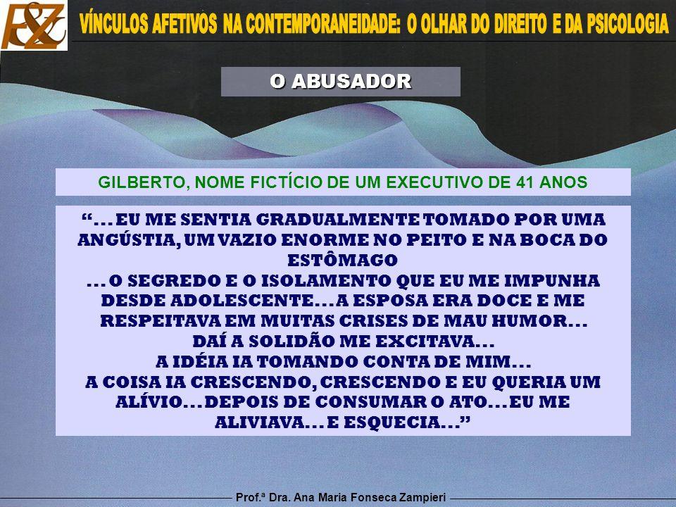 Prof.ª Dra. Ana Maria Fonseca Zampieri... EU ME SENTIA GRADUALMENTE TOMADO POR UMA ANGÚSTIA, UM VAZIO ENORME NO PEITO E NA BOCA DO ESTÔMAGO... O SEGRE
