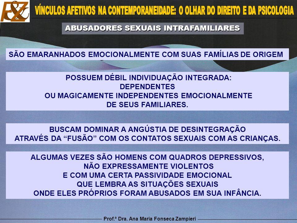 Prof.ª Dra. Ana Maria Fonseca Zampieri ALGUMAS VEZES SÃO HOMENS COM QUADROS DEPRESSIVOS, NÃO EXPRESSAMENTE VIOLENTOS E COM UMA CERTA PASSIVIDADE EMOCI