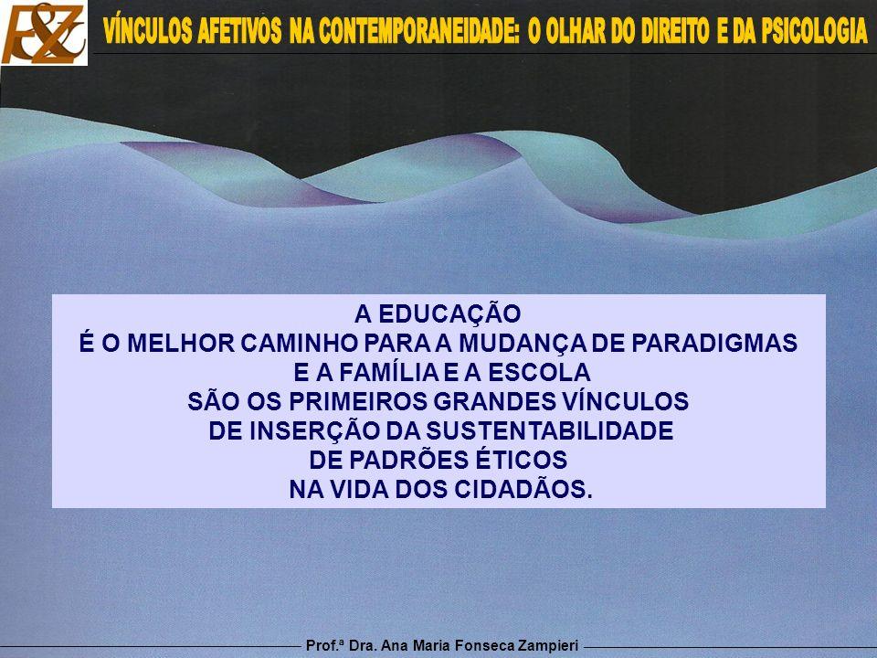 Prof.ª Dra. Ana Maria Fonseca Zampieri A EDUCAÇÃO É O MELHOR CAMINHO PARA A MUDANÇA DE PARADIGMAS E A FAMÍLIA E A ESCOLA SÃO OS PRIMEIROS GRANDES VÍNC