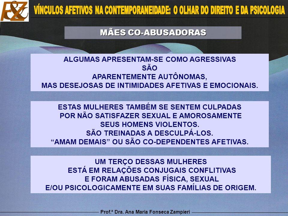 Prof.ª Dra. Ana Maria Fonseca Zampieri ESTAS MULHERES TAMBÉM SE SENTEM CULPADAS POR NÃO SATISFAZER SEXUAL E AMOROSAMENTE SEUS HOMENS VIOLENTOS. SÃO TR