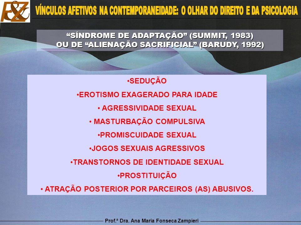 Prof.ª Dra. Ana Maria Fonseca Zampieri SEDUÇÃO EROTISMO EXAGERADO PARA IDADE AGRESSIVIDADE SEXUAL MASTURBAÇÃO COMPULSIVA PROMISCUIDADE SEXUAL JOGOS SE