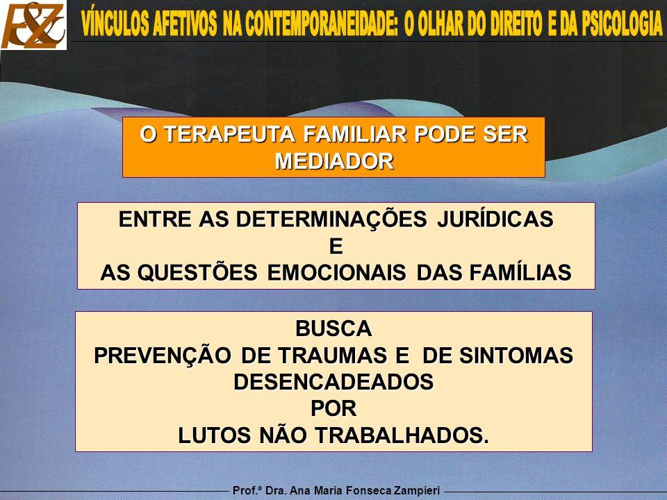 Prof.ª Dra. Ana Maria Fonseca Zampieri O TERAPEUTA FAMILIAR PODE SER MEDIADOR ENTRE AS DETERMINAÇÕES JURÍDICAS E AS QUESTÕES EMOCIONAIS DAS FAMÍLIAS B